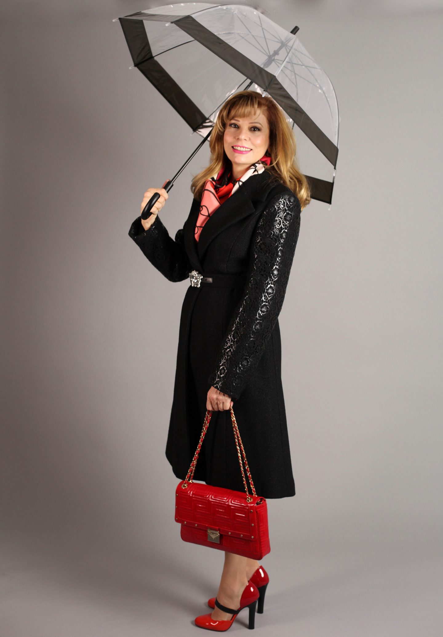 MY 2nd MOST GLAMOROUS  COAT AND THE TRANSPARENT UMBRELLA