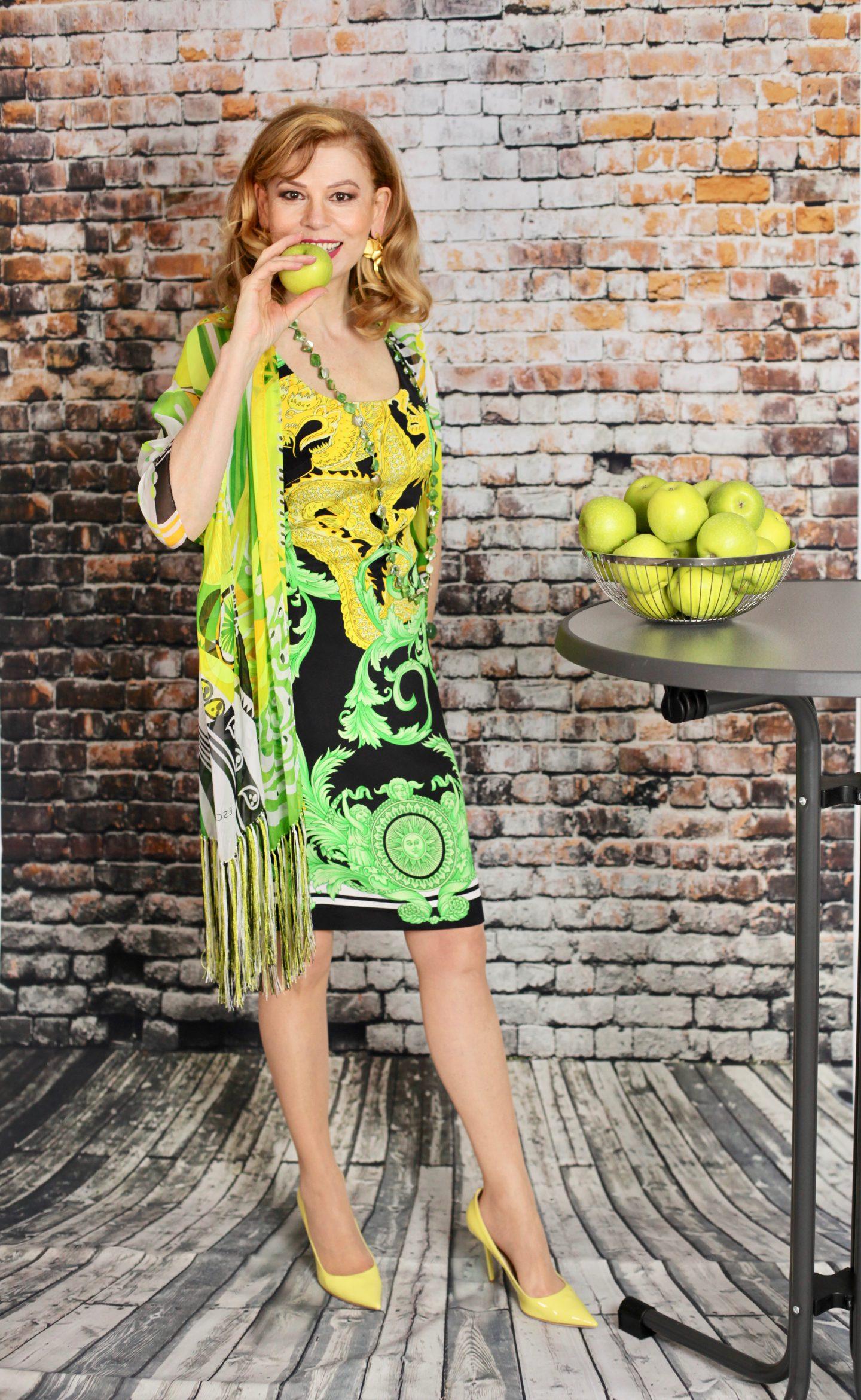 VIBRANT APPLE GREEN AND YELLOW PRINT DRESS